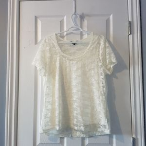 White floral lace short sleeve shirt XL